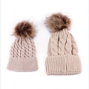 Other - NEW Tan Mommy and me beanies hats